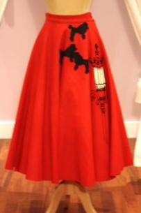 1950s Vintage Red Felt Full Circle Skirt - Mela Mela