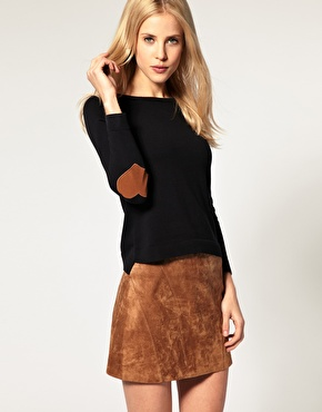 Jumper with heart elbow patch - ASOS