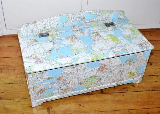 Uk Map Decoupaged Storage Box - Flutterbug Interiors