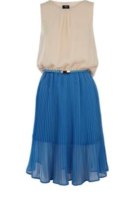 Pleated Drape Back Dress-Oasis