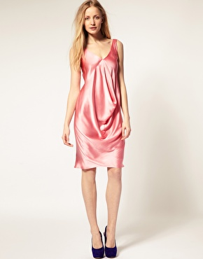 Suzie Wong Draped Silk Dress-ASOS