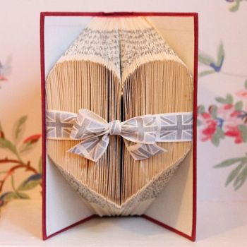 Folded Heart Book Decoration by Stuff by Losy Posy