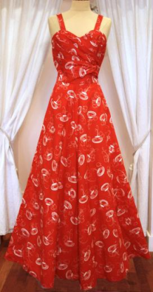 1950s red and white sundress with fountain print - Mela Mela Vintage