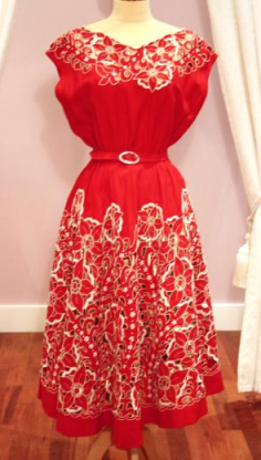 1950s Red and ivory crepe dress with embroidery cut away detail - Mela Mela Vintage