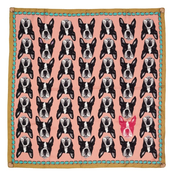Pink Boston Terrier scarf by Lisa Bliss - The Graduate Collection