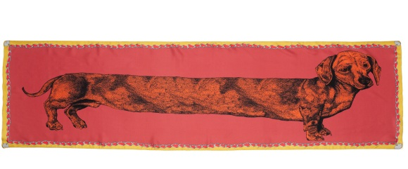 Pink Dachshund Scarf by Lisa Bliss - The Graduate Collection