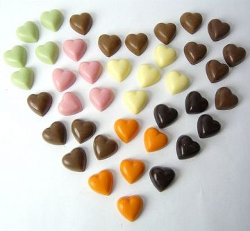 One Hundred Loose TINY CHOCOLATE HEARTS by Cocoapod Chocolates