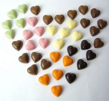 One Hundred Loose TINY CHOCOLATE HEARTS by Cocoapod Chocolates