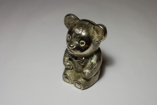 Silver Teddy Bear Money Box - Three Jelly Moulds & a Wardrobe