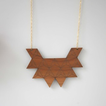 Cherry Wood Triangle Necklace - Rebecca Boatfield