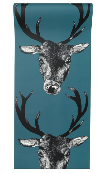 Stag head wallpaper in teal by Lisa Bliss - Graduate Collection