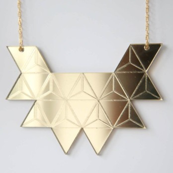 Gold Mirrored Triangle Necklace - Rebecca Boatfield
